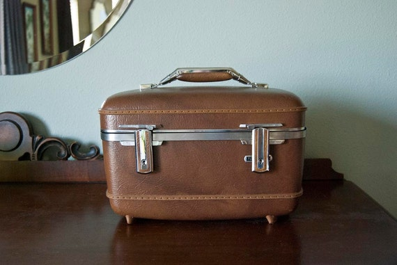 American Tourister Train Case Brown with Chrome Accents Vintage Luggage Travel Carry On Bag Hardcase