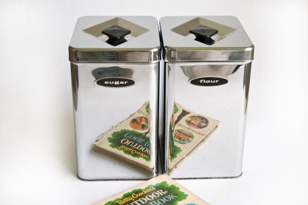 metal chrome sugar flour canisters by twostoryvintage on etsy. Black Bedroom Furniture Sets. Home Design Ideas