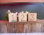 Rustic Wedding OLD Barnwood Burlap Covered Table Numbers Set of Six