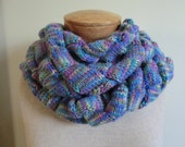 Entrelac Extra Long Scarf in Purple, Blue, Yellow, Pink, Green