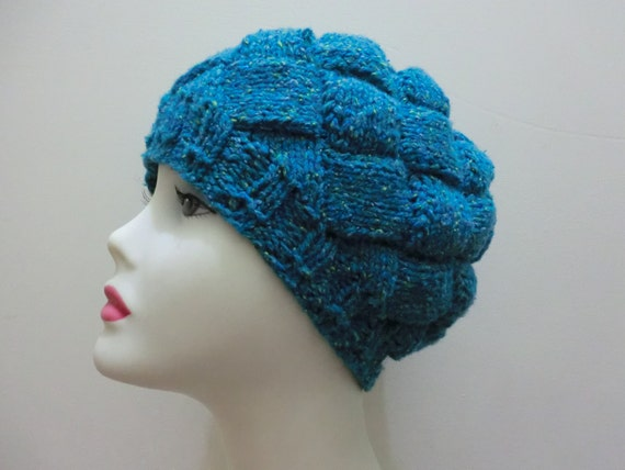 CLEARANCE, Women's Hat and Scarf Set in Merino Wool, Silk, LLama Fiber Blend with Teal Colors