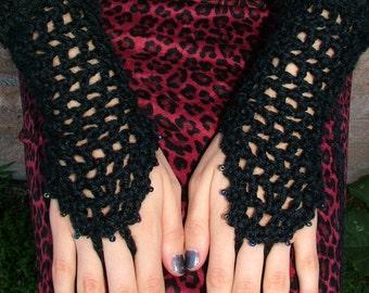 Gothic Black Crochet Gloves / Dark Multi-Colored Beads / Black Lace Trim