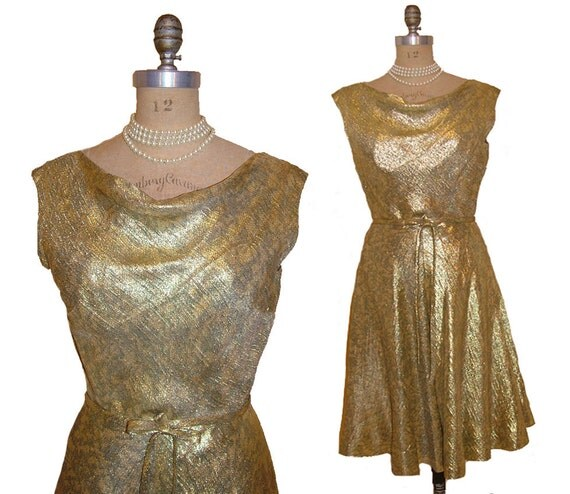 Vintage early 1960s Malcolm Starr Metallic Gold Lame Cowl Drape Bias Cut Evening Dress size Large