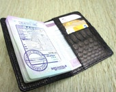 Snakeskin  Passport Cover - Passport Holder -  Black Leather Passport Case