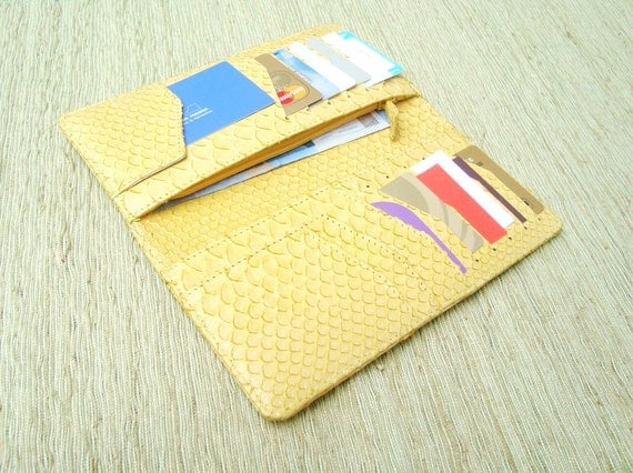 Yellow Leather Women Wallet with Coin Slot. Yellow Leather Long Wallet.