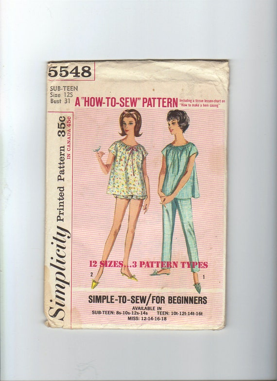 Vintage Sewing Pattern - 1960's Pajama Pattern - Simplicity 5548 - Size 12 Teen - Factory Fold