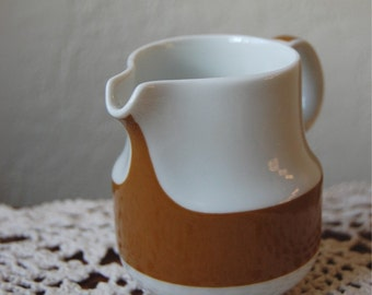 Vintage Retro Creamer White Brown Schwalb Germany