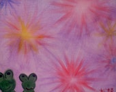 """Fire Love Frogies done with Acrylics on 9""""x12"""" panel canvas"""