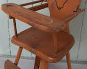 Wood Doll High Chair Silhouette Detail 1930's