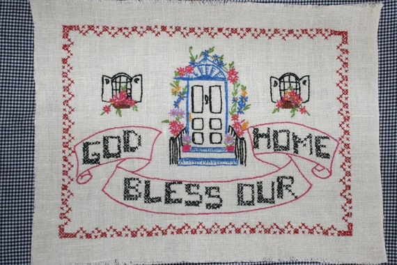 Vintage Embroidered Cross Stitch Linen Sampler- God Bless Our Home-with door and windows