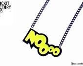 Noooo necklace yellow black laser cut acrylic street style