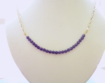Customizable Necklace-Amethyst Stones with Gold Chain
