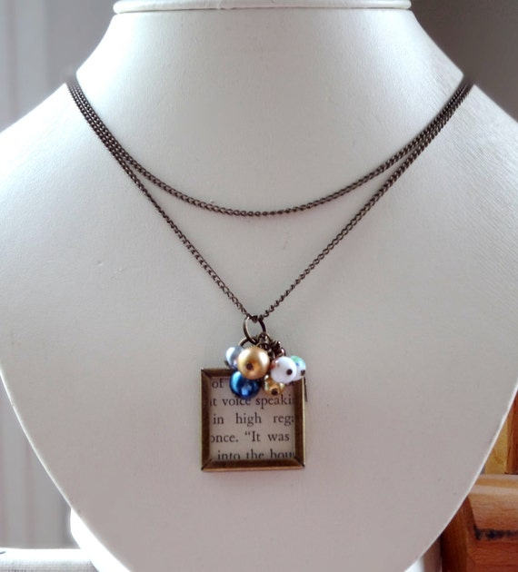 Vintage Style Locket Antiqued Brass with a Cluster of Glass Pearls Mothers Day Gift