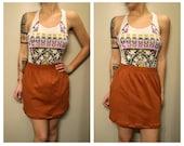 Burnt Orange High Waist Skirt with Crinkle Bottom
