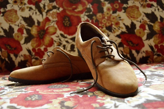 Camel Colored Suede Laced Up Dress Shoes