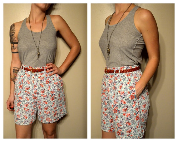 High Waist Long Floral Hipster Shorts with Pockets