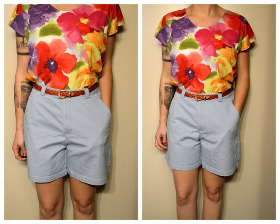High Waist Baby Blue Hipster Shorts