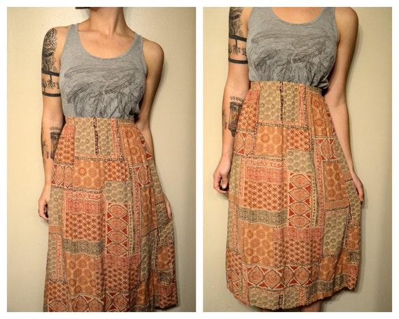 Vintage Hippie Bohemian Print  High Waist Summer Skirt