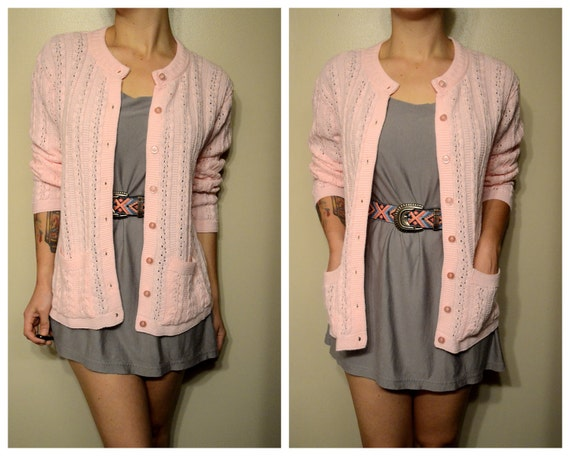 Vintage Pink Grandma Hipster Knit Sweater Cardigan with Pockets