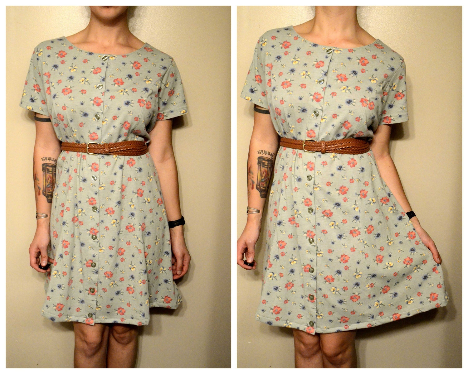 Vintage Green Button Front Floral Print Hipster Summer Dress