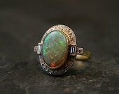 Vintage Opal & Diamond Art Deco Ring