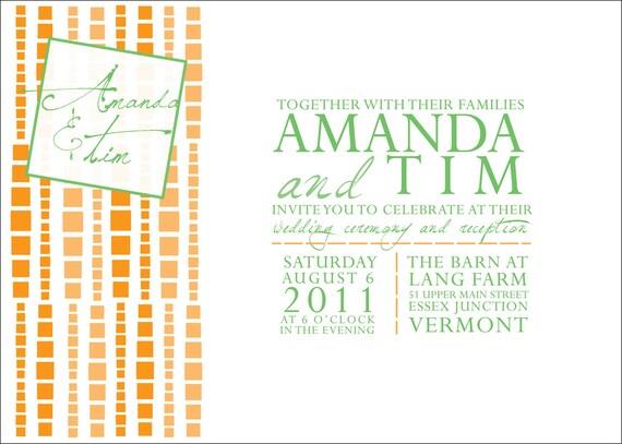Hanging Beaded Squares Wedding Invitations : InkOVERpaper Invitations