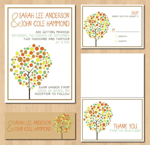 Items similar to printable tree wedding invitations for Free printable tree wedding invitations