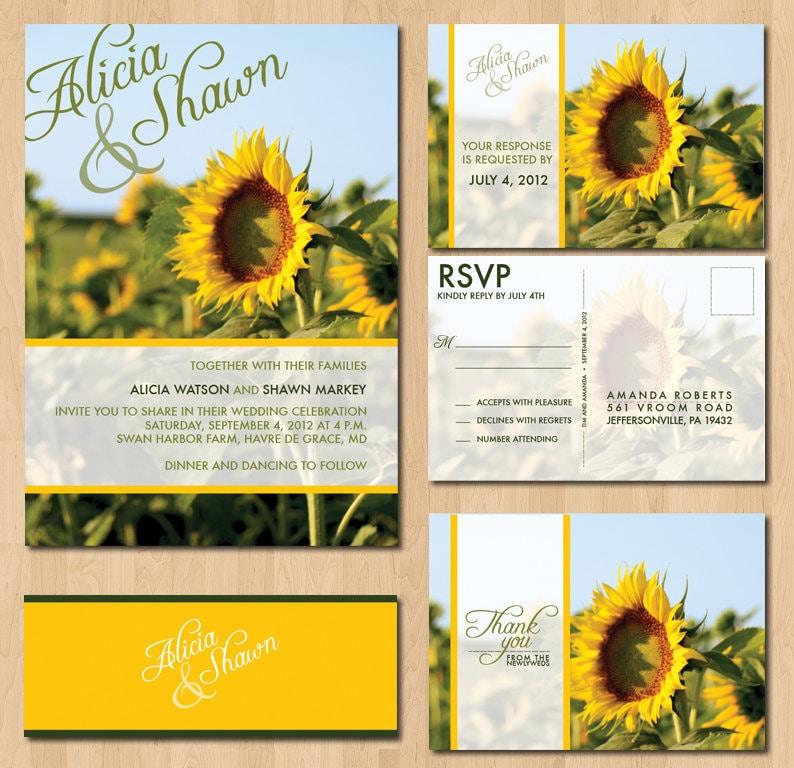 Printable Sunflower Wedding Invitations : By