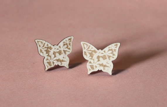 Wooden Butterfly Filigree Earrings