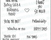 "Photopolymer Clear Stamps - Friend Stamp Set , 4""x6"" Sheet , High Quality, 15 Stamps"