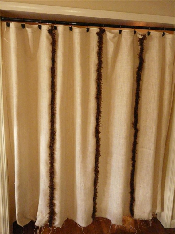 Brown trim burlap shower curtain by fromthesametree on etsy