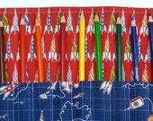 Boys Color Pencil Roll / Great Creative Gift / Artist Organizer Case /  Rocket Rocketship