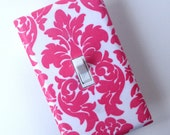 Damask Light Switch Plate Cover / Pink and White / Baby Girl Nursery Decor / Teen Girl/ Bathroom