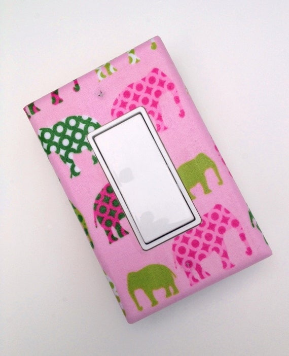 Elephant Light Switch Plate Cover Baby Nursery Pink Urban