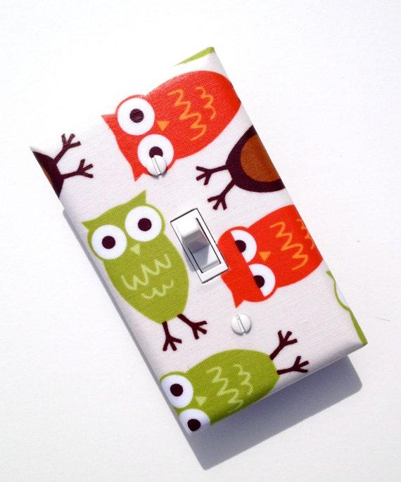 Owl Light Switch Plate Cover / Baby Nursery Decor / Urban Zoologie Bermuda Owls by Robert Kaufman / Woodland Fabric