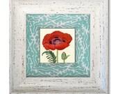 Flower Art / Red Poppy / Decoupage Plate Wall Art / floral home decor / red flower / aqua red / art print.