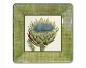 Green Artichoke / Artichoke  Decor / Vegetable Art  /  Decoupage Plate Wall Art / Cottage Style / Artichoke Wall Hanging / kitchen decor