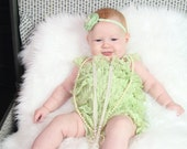 Clearance - Lace petti romper - SAGE GREEN - Photography Prop - With or Without Straps