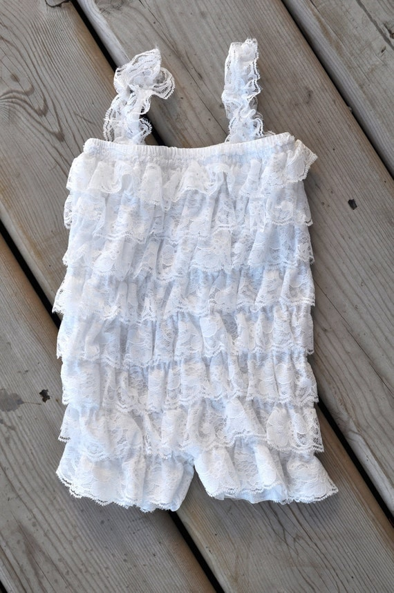 CLEARANCE Petti romper - WHITE - Photography Prop - With or Without straps