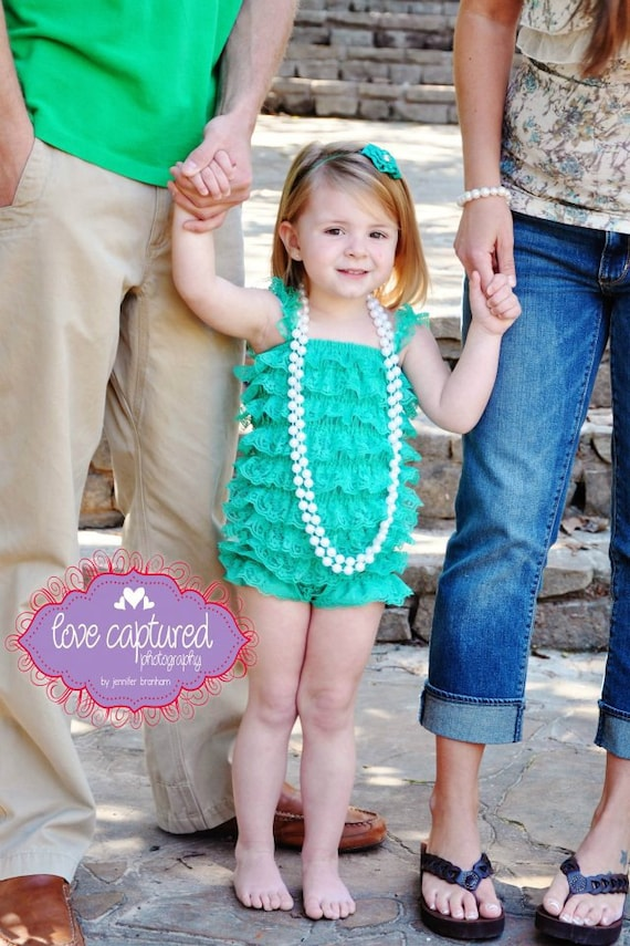 Clearance Lace petti romper - KELLY GREEN - Photography Prop - With or without straps