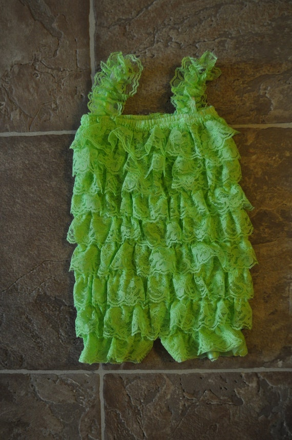 CLEARANCE  - Lace petti romper - LIME GREEN - Photography Prop - With or Without Straps