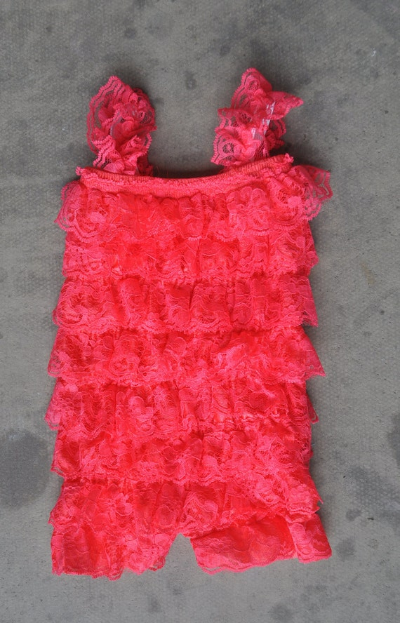 CLEARANCE - Lace petti romper - POPPY PINK - Photography Prop - With or Without Straps