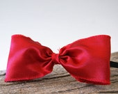Red Bow Headband Vintage Style Fabric Bow Christmas Red Holiday Party Wedding Bow Headband