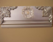 Beautiful Silver Metallic coat rack with glass door knob and decorative wood applique corners.industrial, shabby chic