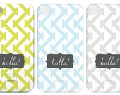 Holla Custom Designed Striped iphone 4 Cover Case - Green, Grey, Blue Chevron