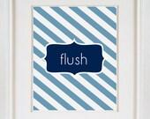 Nautical Flush (1)  8x10 Chevron Bathroom Artwork Navy Blue