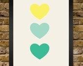 Ombré Mint Yellow & Green Heart Trio Print - Vintage
