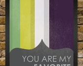 Your are my favorite - Ombré Stripes Mint Yellow & Green Purple Grey Vintage Distressed Print - Love