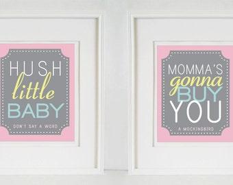Hush Little Baby - Nursery Rime Quote Set- (2)  8x10 Nursery Prints