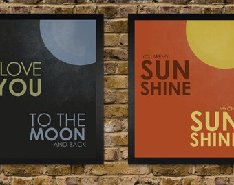 You are my sunshine and I Love you to the Moon -  Vintage Distressed Nursery Print Set - yellow grey blue